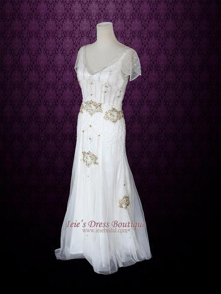 Wedding - Ivory Bohemian Beach Wedding Dress With Silk Lining Cap Sleeves And Intricate Beading