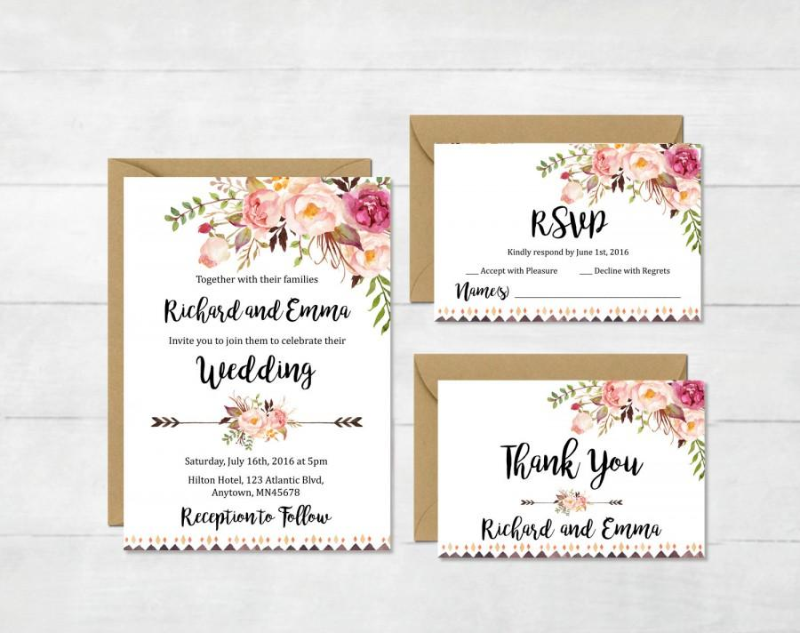 Floral Boho Tribal Wedding Invitation Suite Printable Boho Wedding