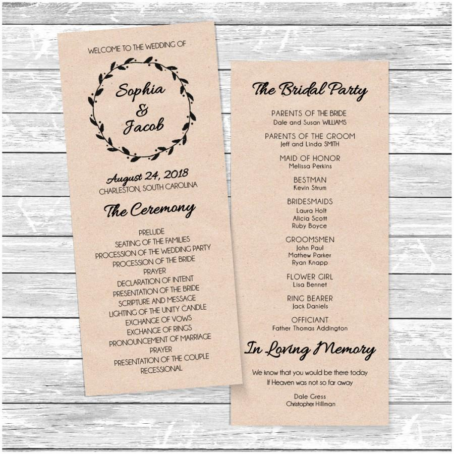 Приглашение Printable Wedding Program Template Weddbook - Easy wedding program template