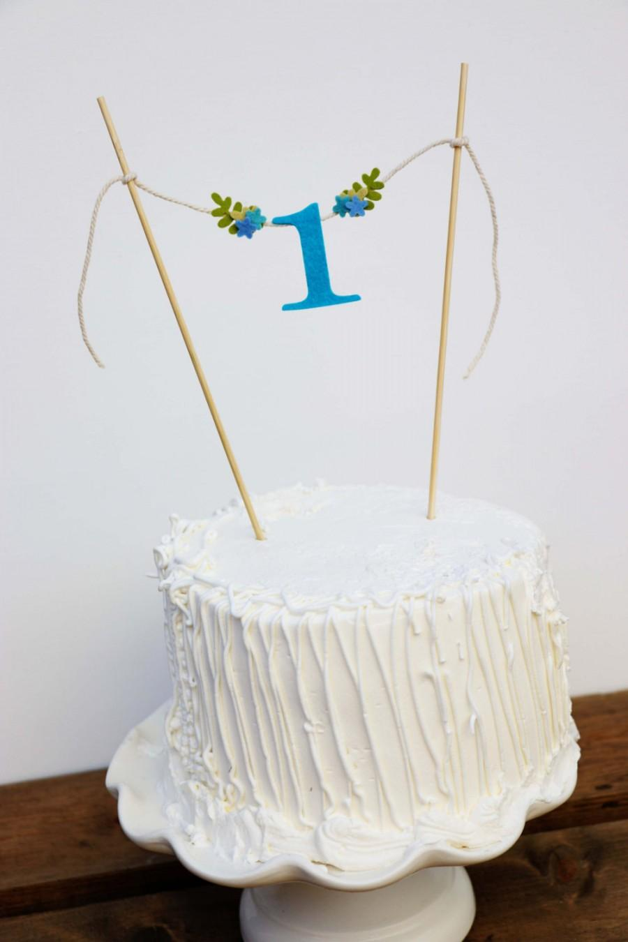 First Birthday Cake Banner One Blue Topper Ocean Hues