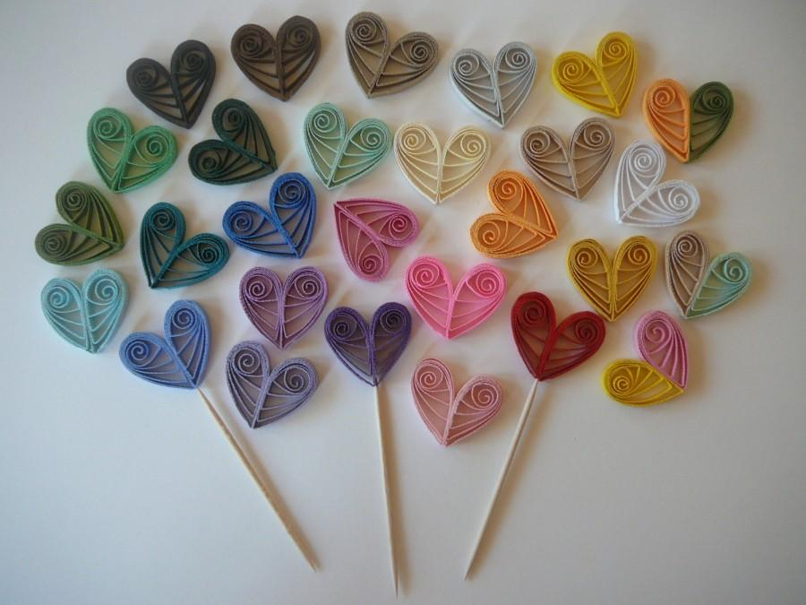 Paper Quilled Heart Cupcake Topper Wedding Party Or Valentines Day