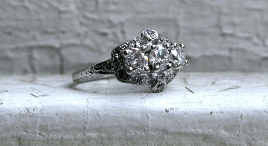 Mariage - Antique Art Deco Platinum Diamond Engagement Ring by Birks - 1.40ct.