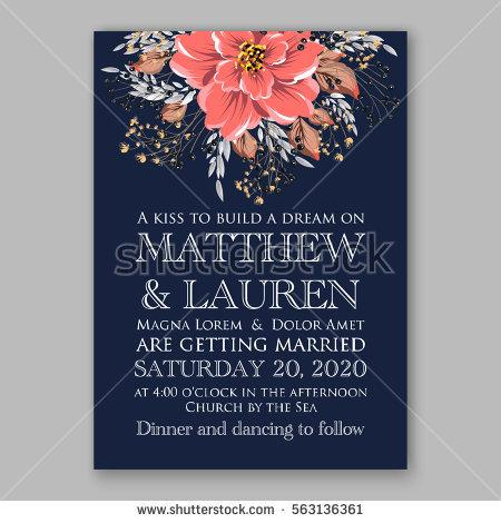Wedding - Wedding Invitations with anemone flowers. Anemone Bridal Shower invitation cards in navy blue theme with red peony