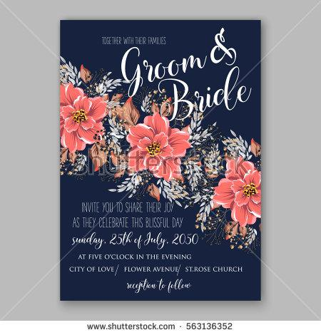 Wedding Invitations With Anemone Flowers Anemone Bridal Shower