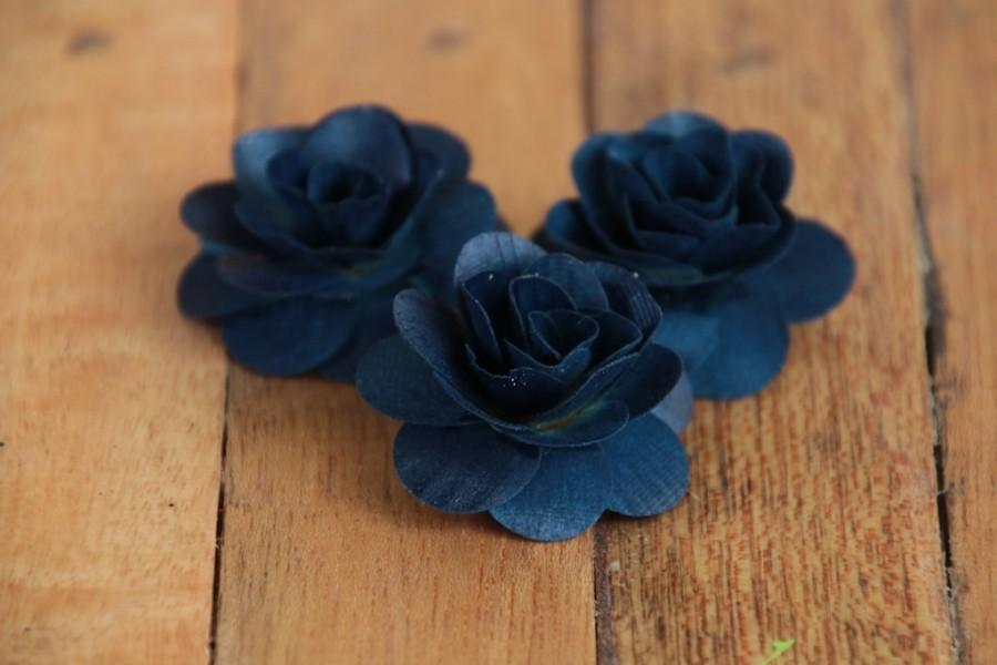 Mariage - 150  Pcs Navy Blue Birch Wood Roses for Weddings, Home Decorations, Scrapbooking and Floral Arrangements
