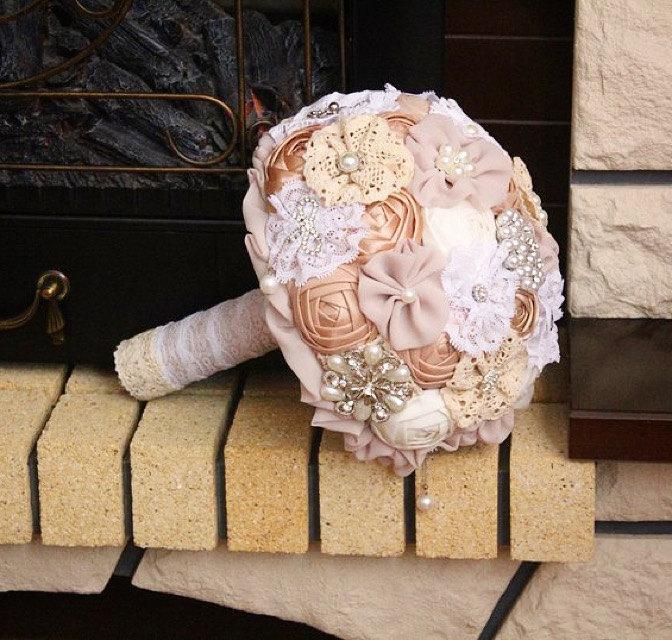 Wedding - Wedding set bouquet. Brooch bouquet, fabric bouquet. Wedding Brooch bouquet. Rustic brooch bouquet ivory . Bridesmaids bouquet