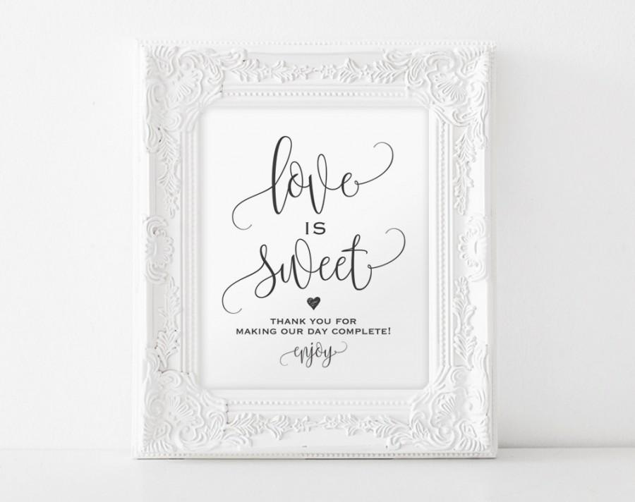 Mariage - Love is Sweet Sign, Dessert Table Sign, Take a Treat Sign, Wedding Printable, Wedding Sign, Candy Bar Sign, PDF Instant Download