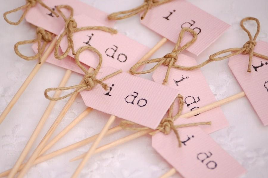 زفاف - I Do Party Picks - blush pink with twine bows - set of 10