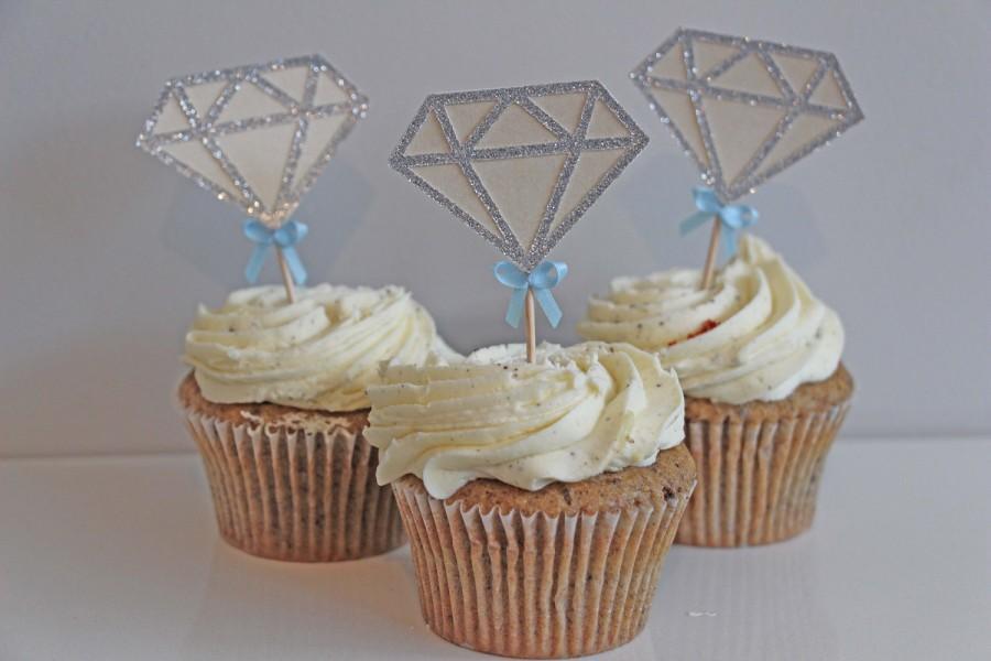 Wedding - Diamond Engagement wedding engagement cupcake toppers