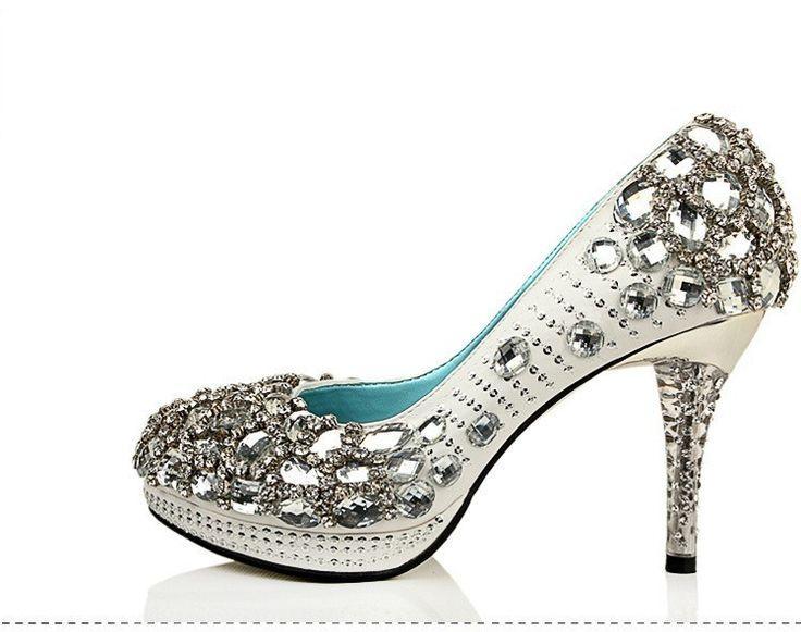 زفاف - High Heels Handmade Rhinestone Pointed Toe Crystal Wedding Shoes, S026