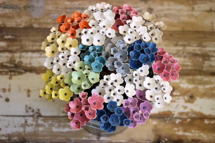 Wedding - Alternative Bridal Bouquet,Rustic Bouquet,Ceramic Flowers,Modern Bride,Boutonniere For Groom,Bridesmaid Gift,Woodland Wedding,Anemone Flower