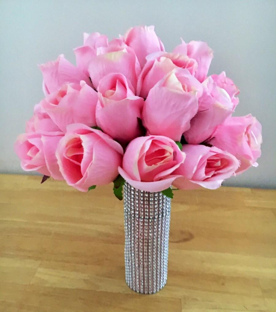 Hochzeit - Pink Rose Wedding Bridal Bouquet with Crystal Brooch Embellishment - Silk Real Touch Roses - Bridesmaid and Bride