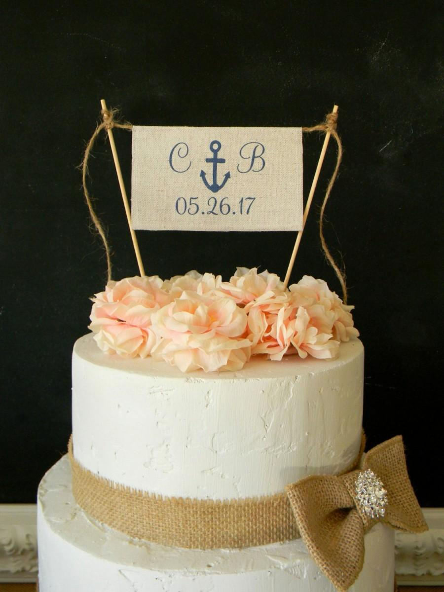 Wedding - Anchor Cake Topper Nautical Beach Navy Flag Bunting Banner Initials & Date Personalized Nautical Cake Topper Navy Wedding Beach Wedding