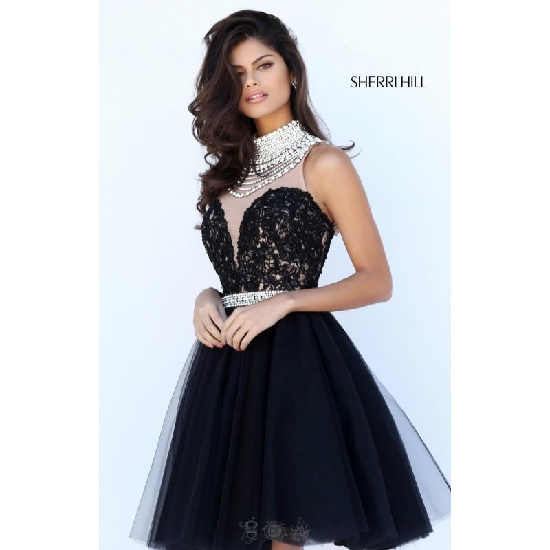 Mariage - Royal Sherri Hill 50538 - Sleeveless Short Lace Pearls Sheer Dress - Customize Your Prom Dress