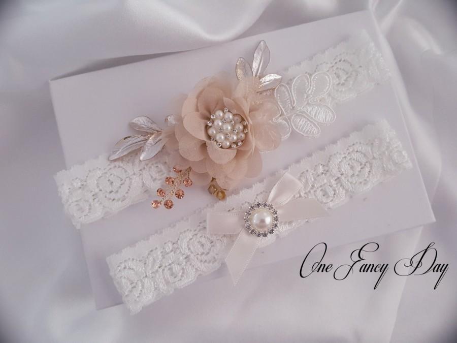Wedding - Rustic Wedding Garter, Rustic Wedding, Rustic Bridal Garter, Crystal pearl Wedding Garter Set, Stretch Lace Garter
