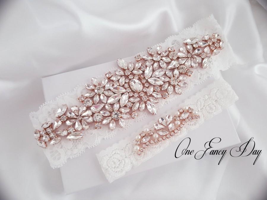 Wedding - Wedding Garter Set, Bridal Garter set, Lace Garter set, Silver Crystal Garter, Rose Gold Bridal Garter