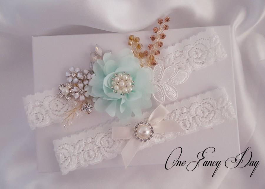 Wedding - Beaded Lace Wedding Garter Set, Lace Garter Set, Toss Garter, Keepsake Garter, Customizable Handmade