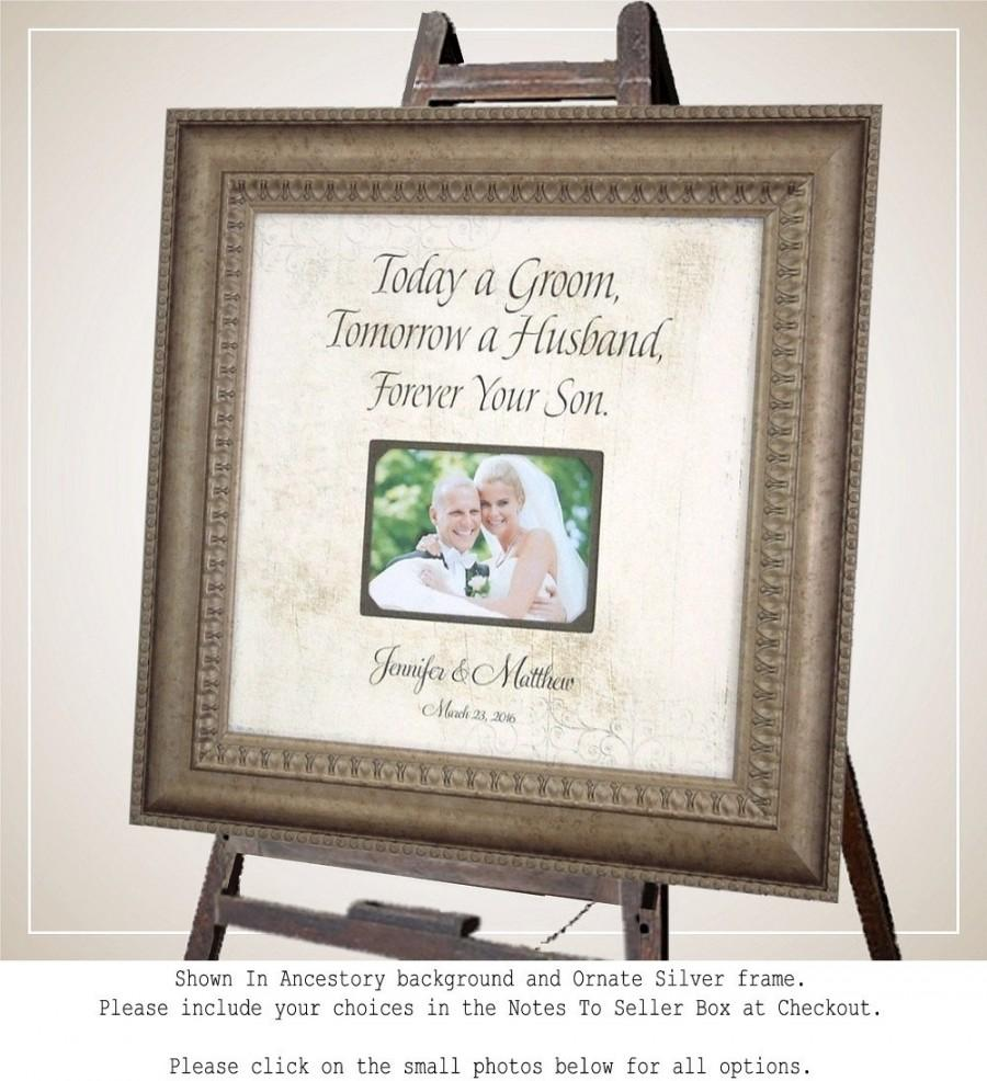 Mariage - MOTHER Of THE GROOM, Parents Wedding sign, Personalized Wedding Frame, Today A Groom quote, Family Gift from Groom, wedding frame, 16 X 16