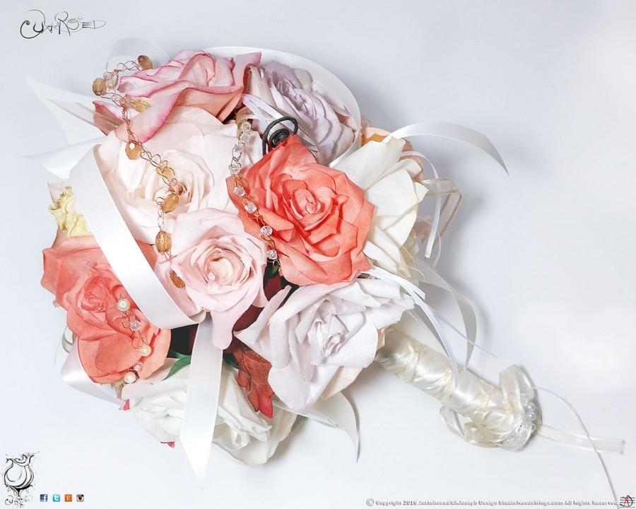 Mariage - Custom Bridal Bouquet Comprised of Handmade Coffee Filter Flowers, Embellishments, and Ribbon - Traditional Posey with Wrapped Stem-OOAK