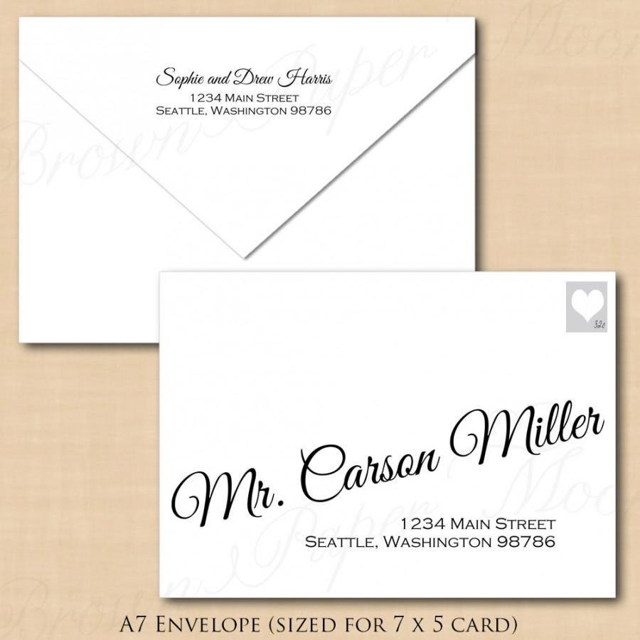 Change All Colors! Calligraphy Address Wedding Envelope Template (A7 ...