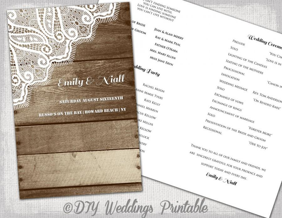 "Hochzeit - Rustic Wedding program Printable program template ""Wood & Lace"" DIY YOU EDIT digital country wedding program download"