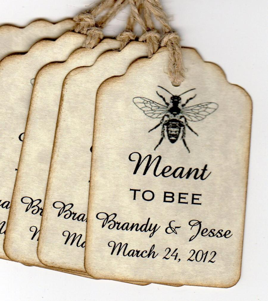 Hochzeit - Wedding Favor Gift Tags, Wedding Wish Tags, Meant To BEE  Personalized Escort Place Card Label Tags - 50 Rustic Vintage Style Tags