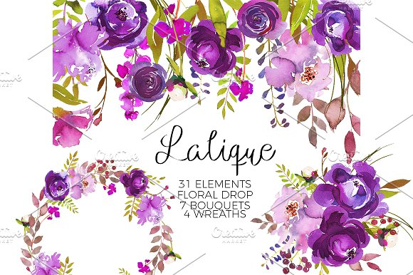 Hochzeit - Lalique- Purple Watercolor Florals