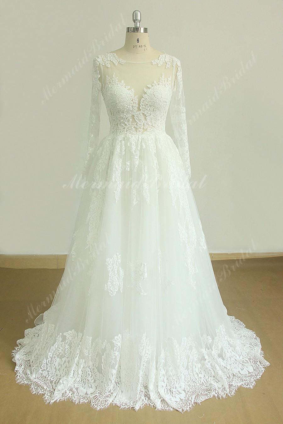 زفاف - Romantic a line french lace wedding dress with keyhole back and long seelves