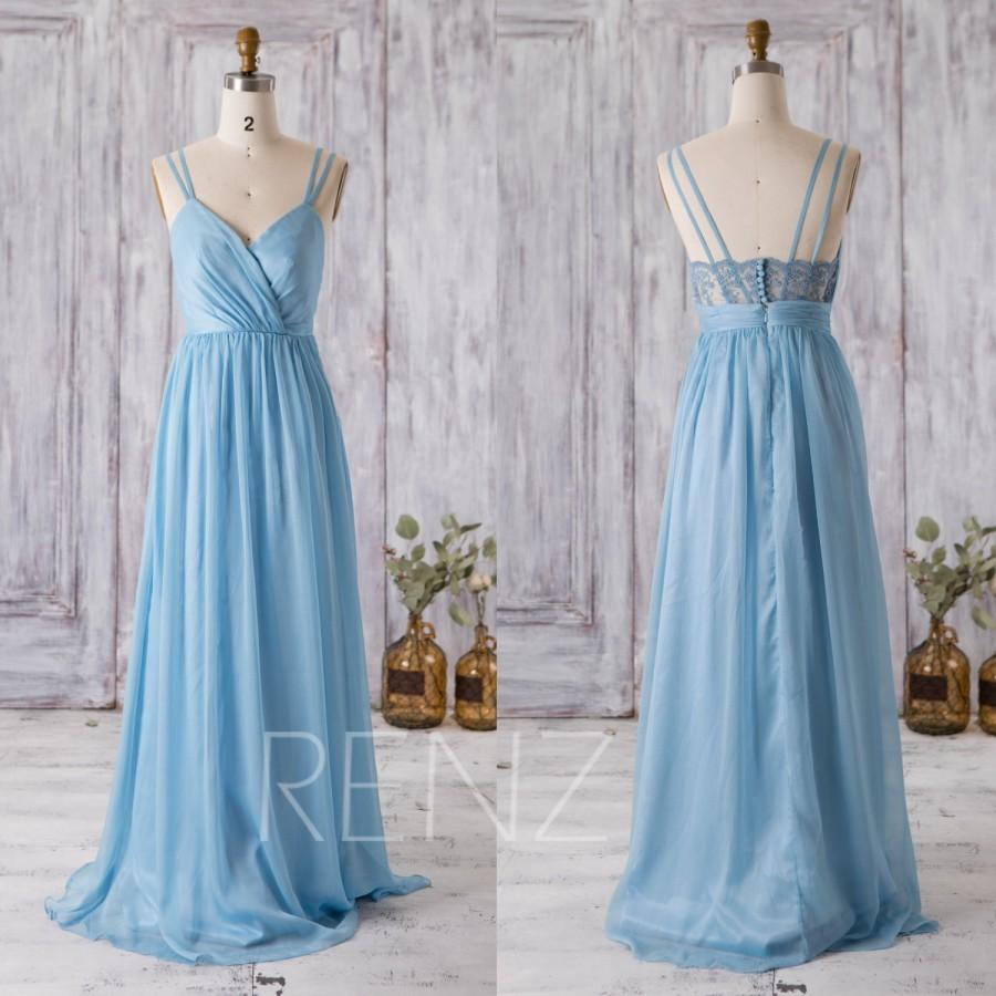 2016 Light Blue Bridesmaid Dress, V Neck Wedding Dress, Spaghetti ...