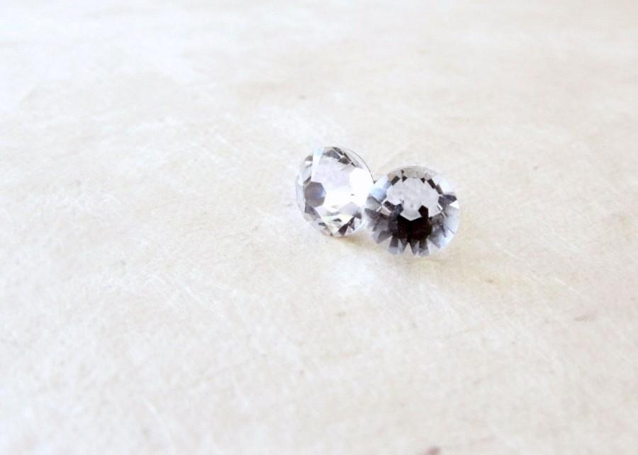 Wedding - Diamond Crystal Genuine Swarovski Post Earrings. Small Faceted Iridescent Clear Post Earrings. Everyday Fashion Jewelry. Simple Bridal Style