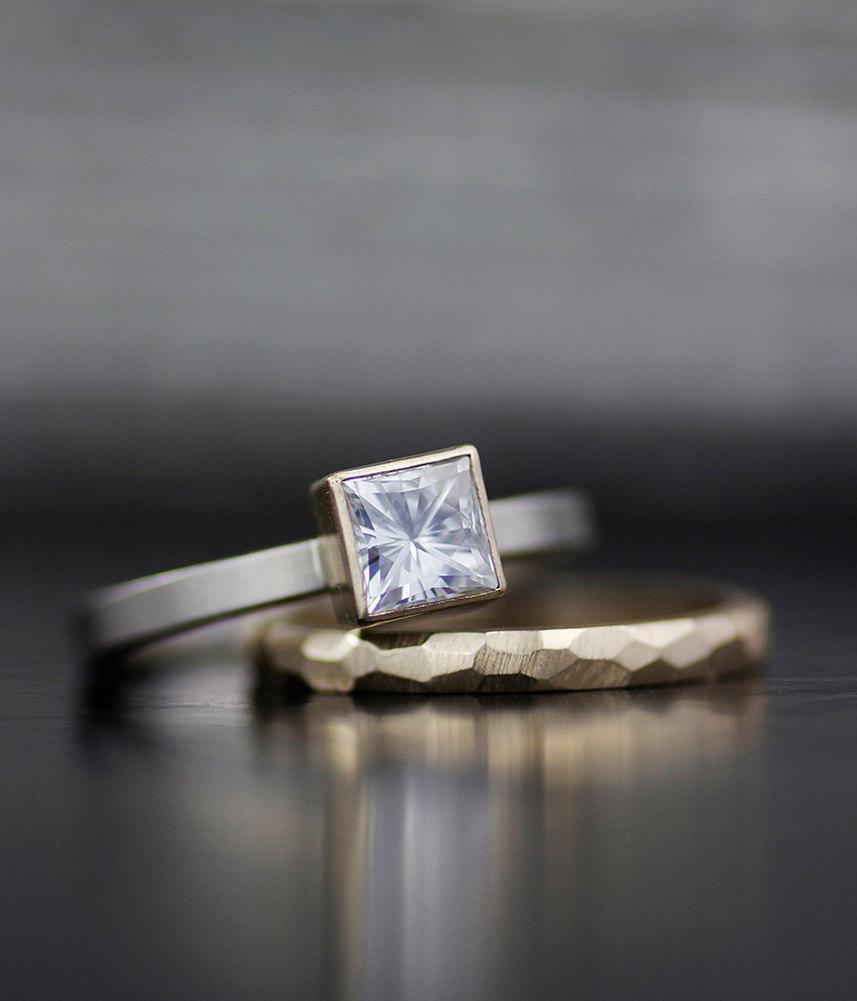 Engagement Ring Set Princess Moissanite Modern Wedding Band