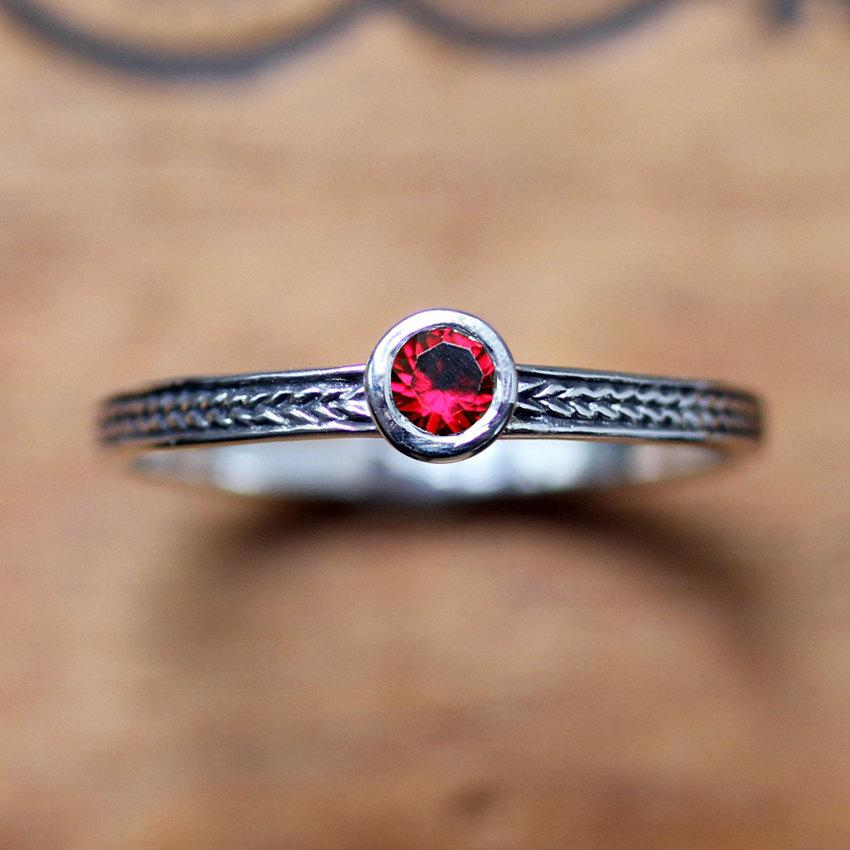 Hochzeit - Red ruby ring sterling silver, silver ruby ring, birthstone stacking ring, July birthstone ring promise ring braided silver ring custom made