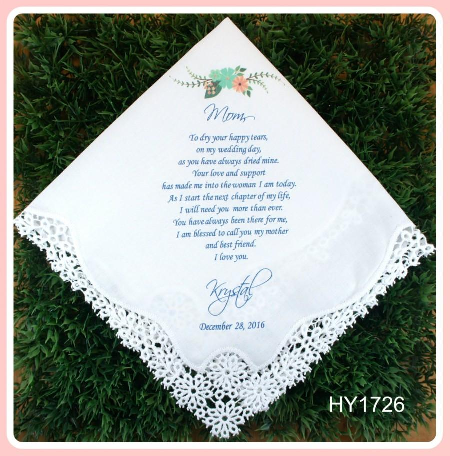 Hochzeit - Wedding Hankerchief-Mother of the Bride Gift from the Bride-PRINTED-CUSTOMIZED-Wedding Handkerchief-Mother of the Groom gift-hankerchief