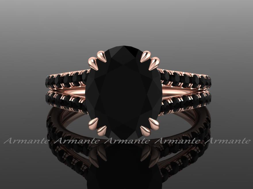 Wedding - Oval 2.80 Carat Black Diamond Engagement Ring, Split Shank 18K Rose Gold Natural Black Diamond Ring RE0067BK