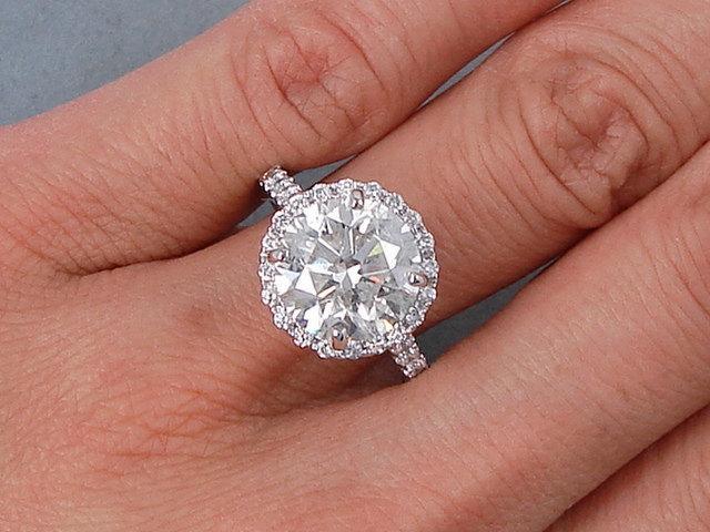 زفاف - 5.31 ctw Round Cut Diamond Ring H Color/SI2 Clarity Enhanced Diamond Ring