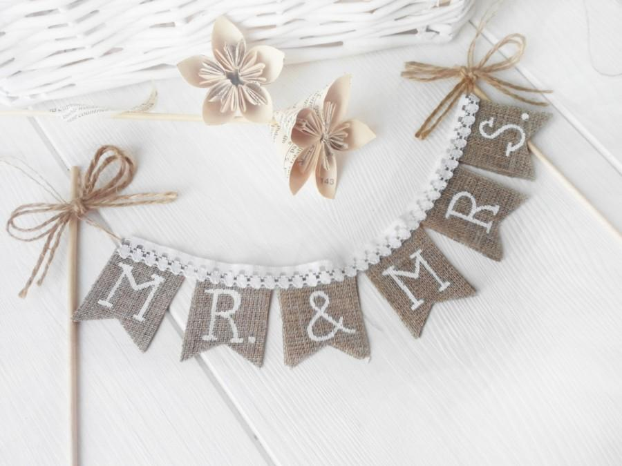 Hochzeit - Rustic Mr & Mrs Wedding cake  topper, shabby chic, vintage style, Cake Topper Rustic Wedding Burlap Sign