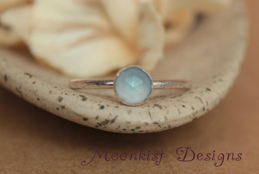 Свадьба - Delicate Denim Blue Chalcedony Promise Ring or Engagement Ring - Unique Rose Cut Bezel-Set Solitaire in Sterling - Bridesmaid Gem Ring