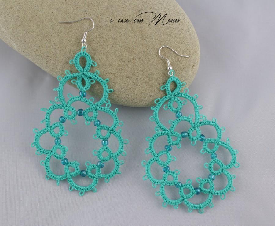 Hochzeit - Orecchini in pizzo chiacchierino, lace tatting earrings, orecchini pendenti, bijoux, per lei, idea regalo, azzurro, handmade, made in Italy