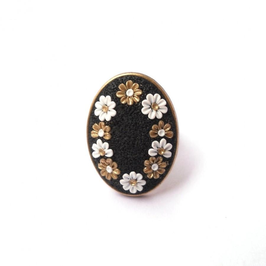 Black Clay Ring White And Gold Flowers Applique Ring Floral Ring