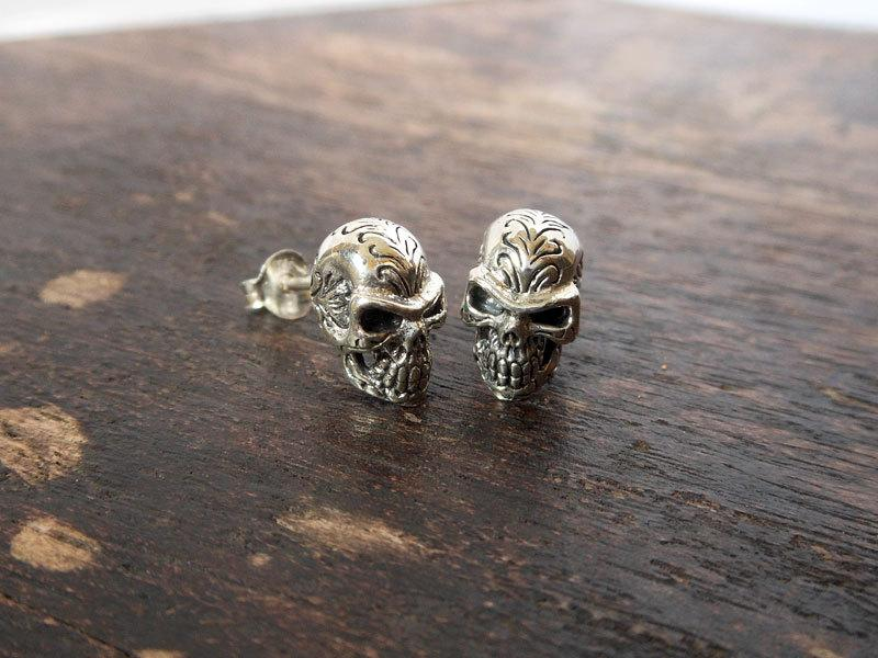zircon cubic mens earrings of punk world products silver zabra skull stone stud biker gothic white rock warcraft sterling jewelry eye