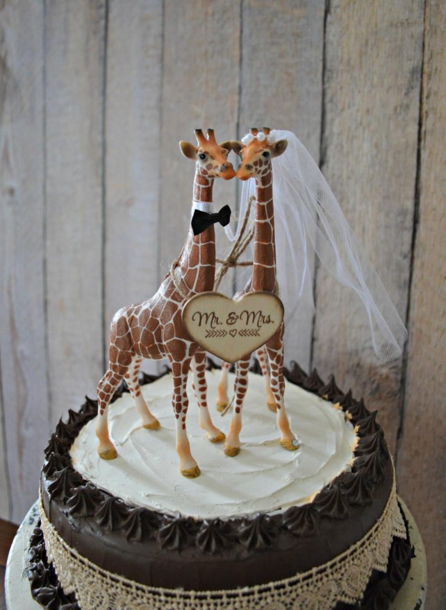 Giraffe Wedding Cake Topper Zoo Jungle Theme Mr Mrs Wood Wedding