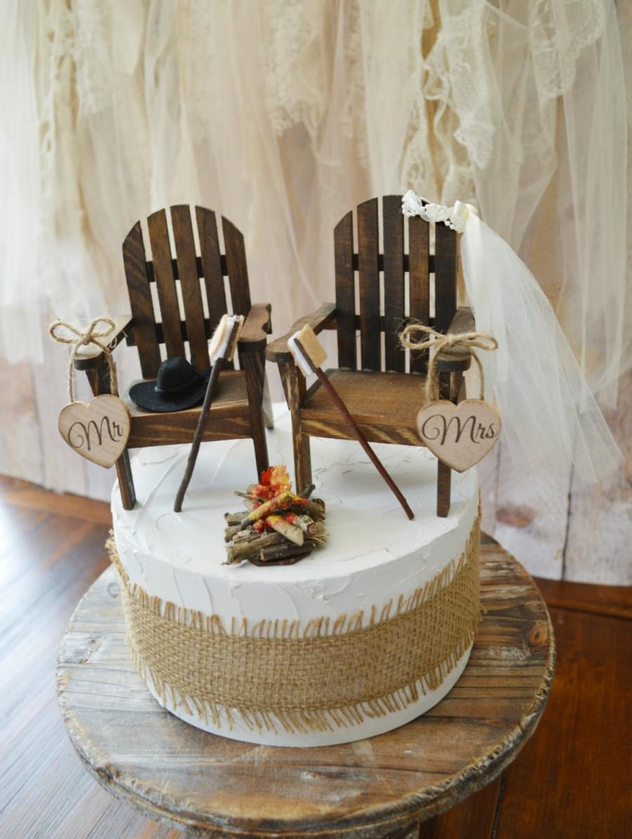 Camping Wedding Cake Topper Country Rustic Weddings Wood Chairs Su0027mores  Campfire Anniversary Mr U0026Mrs Wood Sign Hunting Fishing Groom Fall