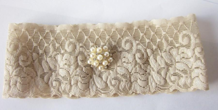 Hochzeit - Simply Chic Bridal Garter - Champagne - Special Offer for Limited Time ONLY 30% Off