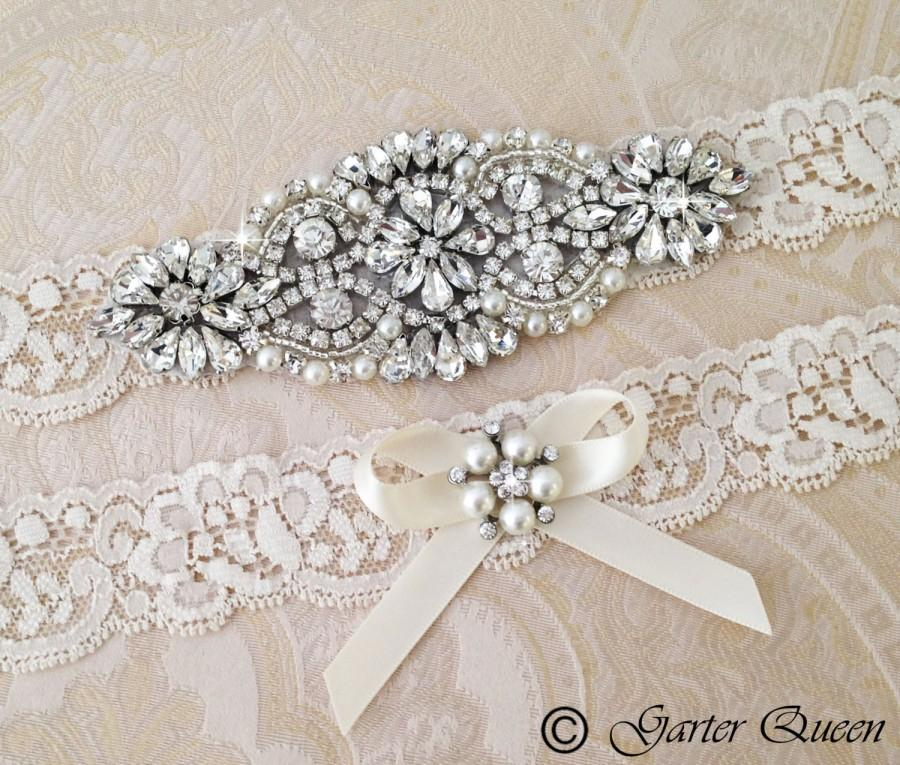 Nozze - Ivory Wedding Garter set, Ivory Bridal garter set, Rhinestone and Crystal garter, Personalized Garter