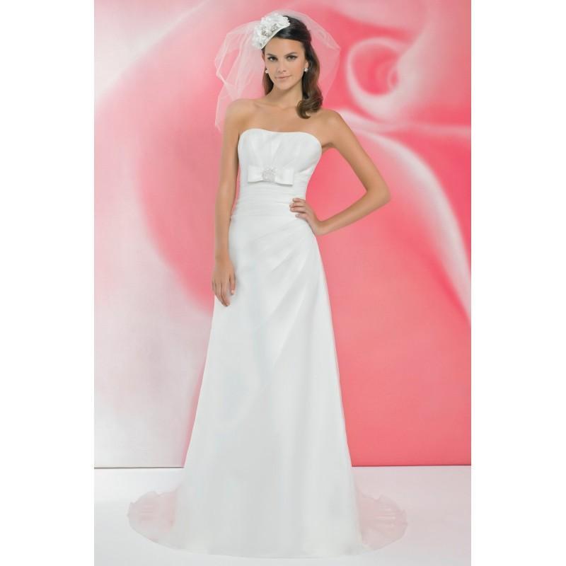 Hochzeit - Simple A-line Strapless Beading Ruching Sweep/Brush Train Satin&Organza Wedding Dresses - Dressesular.com