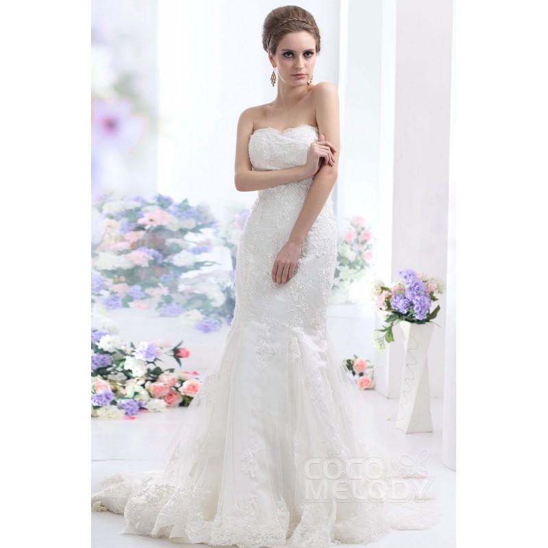 Mariage - Perfect Trumpet-Mermaid Sweetheart Chapel Train Tulle Wedding Dress CWLT130EB - Top Designer Wedding Online-Shop