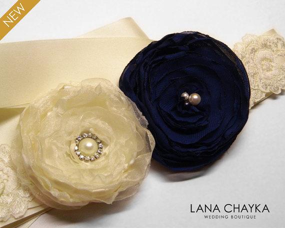 Mariage - Navy Blue Ivory Flower Girl Sash Navy Blue Ivory Wedding Belt Flower Rustic Wedding Sash Dark Blue Ivory Flower Belt Flower Girl Dress Sash