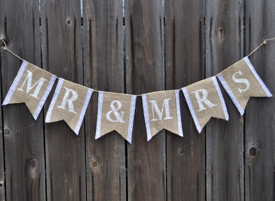 Mariage - Mr & Mrs Burlap and Lace Banner - Bridal Shower Banner - Wedding Banner - Burlap Wedding Banner - Burlap Bridal Shower Banner