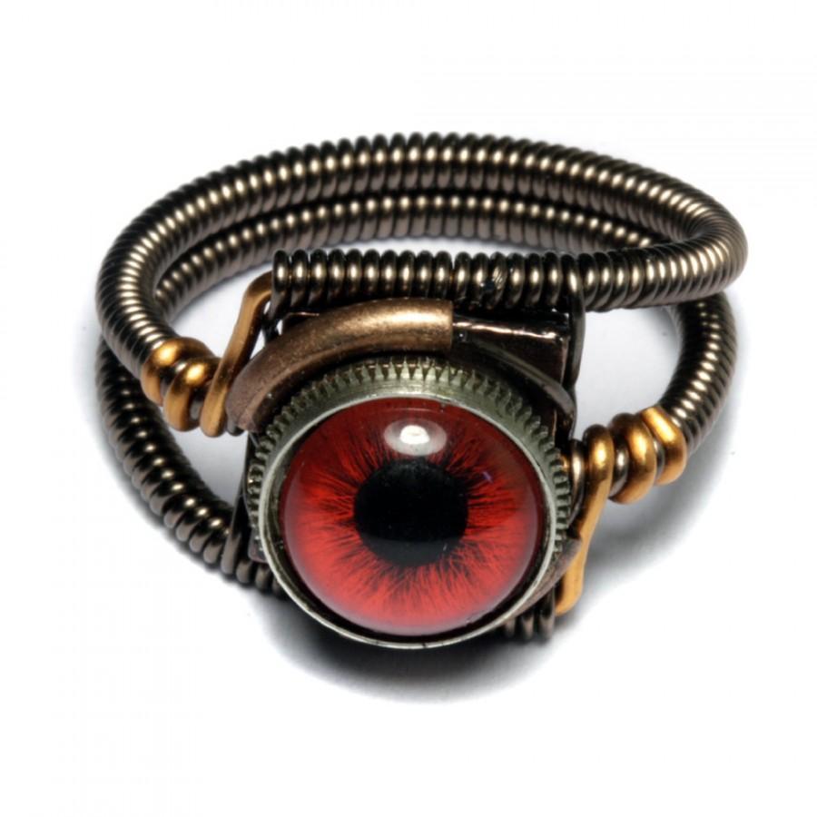 زفاف - Steampunk Jewelry - Eyeball ring - Red taxidermy glass eye