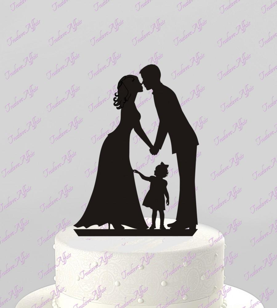 Mariage - Ships Next Day!  Wedding Cake Topper Silhouette Groom and Bride with little Girl, Kiss - Family , BLACK Acrylic - Cake Topper [CT60g]
